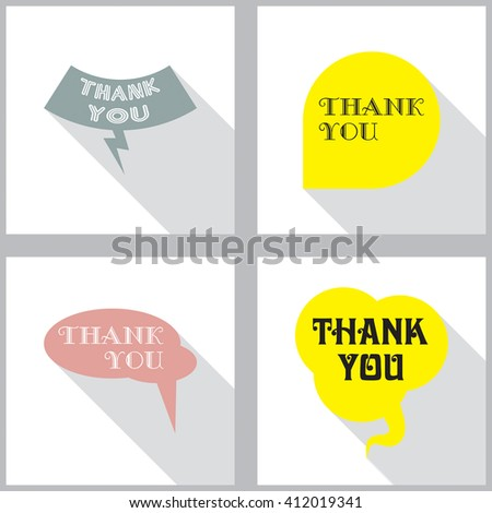 Vector speech bubbles set in flat design with shadow and phrase Thank you.  - stock vector