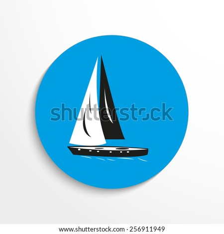 Vector speed boat web flat icon. - stock vector