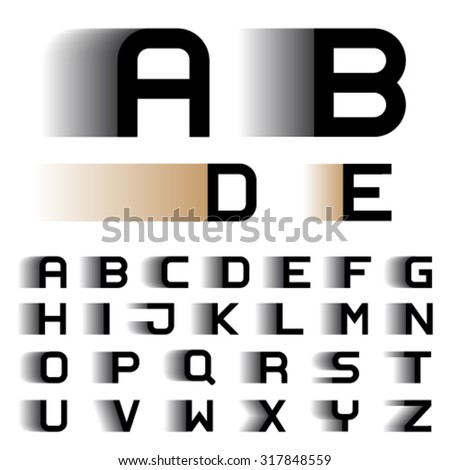 vector speed motion blur font alphabet letters - stock vector