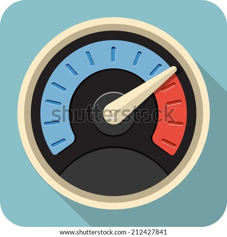 Vector Speedometer Flat Icon - stock vector