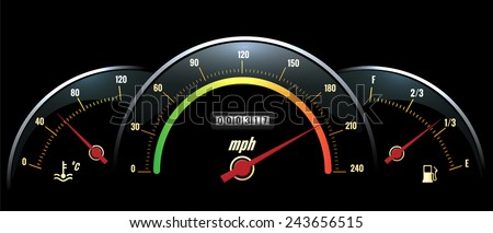 Vector Speedometer Panel. Black panel temperature reading, speed and fuel with brightly colored scales. Vector illustration - stock vector