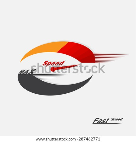 Vector speedometer scale. Concept of speed and acceleration. Vector element of graphic design - stock vector