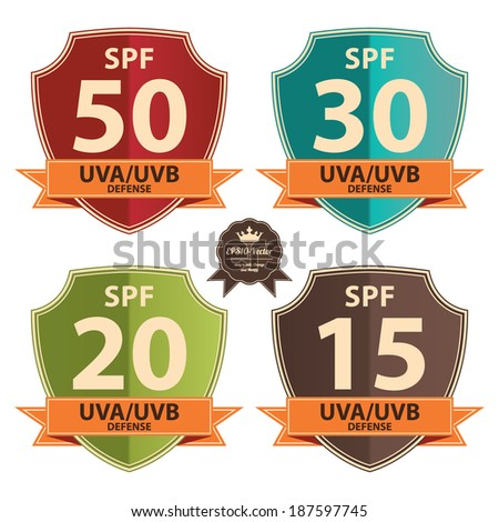 Vector : SPF 15-50 UVA/UVB Defense on Vintage Style Shield Icon or Label Isolated on White Background - stock vector