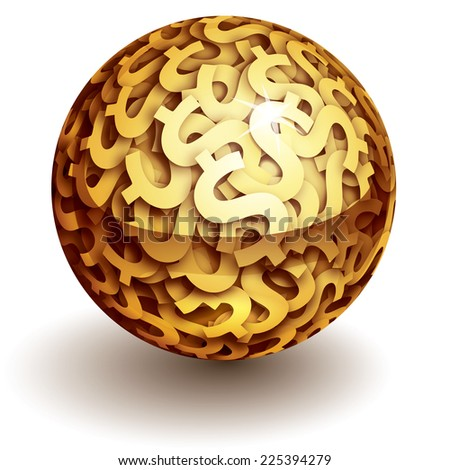 Vector sphere of gold dollar signs. Eps10. Transparency used. CMYK. Global colors. Gradients used. - stock vector