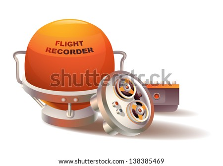 Vector spherical-shaped flight data recorder - stock vector