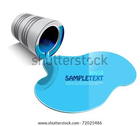 Vector Spilled Blue Paint - stock vector