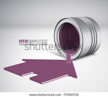 Vector Spilled Paint - House - stock vector