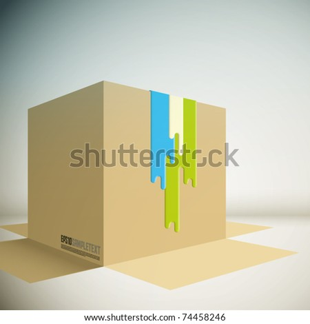 Vector Spilled Paint on a Carton Box - stock vector