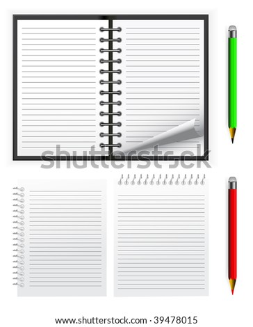 vector spiral notepad with pencil set - stock vector