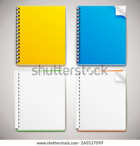 Vector Spiral Ring Notebooks  - stock vector