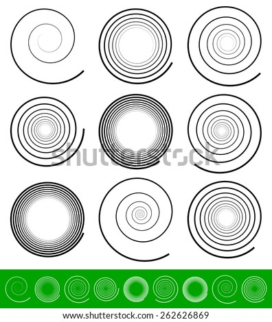 Vector Spiral Set - stock vector
