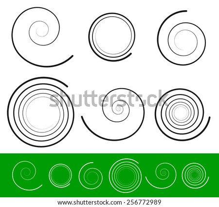 Vector spiral set with 6 different version. Abstract Tendril, Bine, Volute, Helix set. Vector ornament, decoration element set. - stock vector