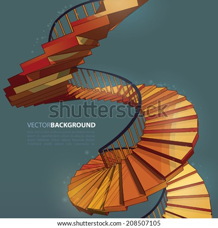 Vector Spiral Staircase Stairway  - stock vector