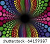 Vector spiral swirl made up of multi colored spheres - stock photo