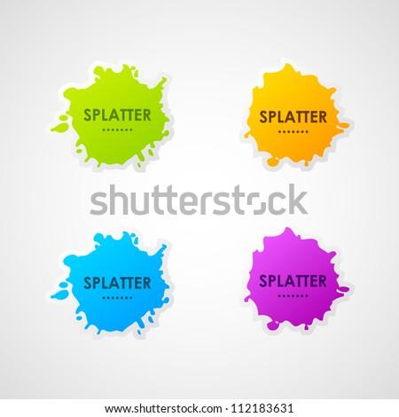 Vector splatter labels - stock vector