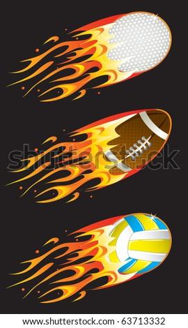 Vector sport balls in fire 02 - stock vector