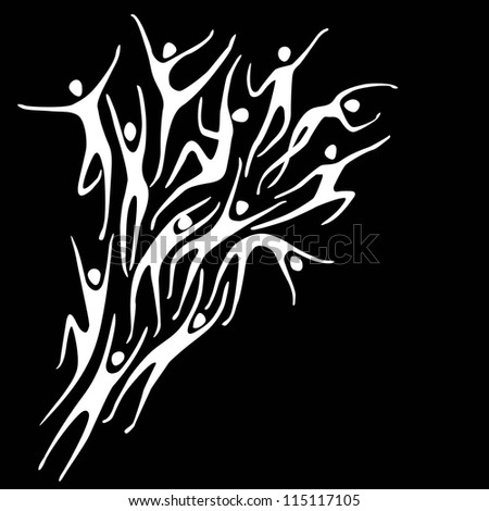 Vector sport black background with white silhouettes of person and text box. Abstract illustration with stylized figures of peoples in motion. Concept of freedom, competition, activity for print, web - stock vector