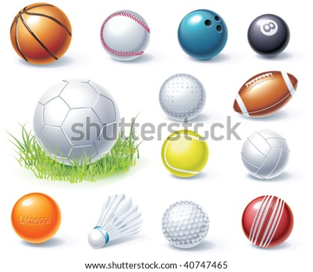 Vector sport equipment icons - stock vector
