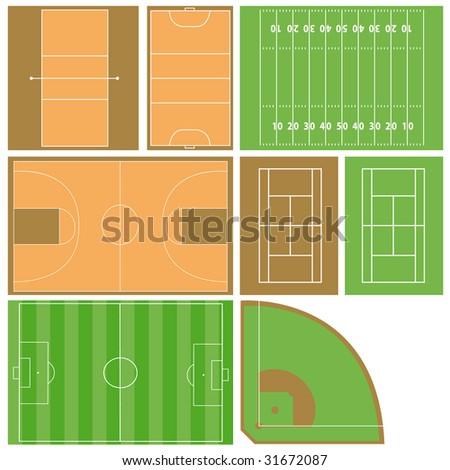 vector sport fields - stock vector