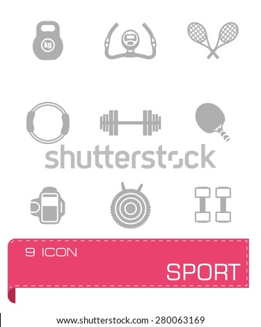 Vector Sport icon set on grey background - stock vector