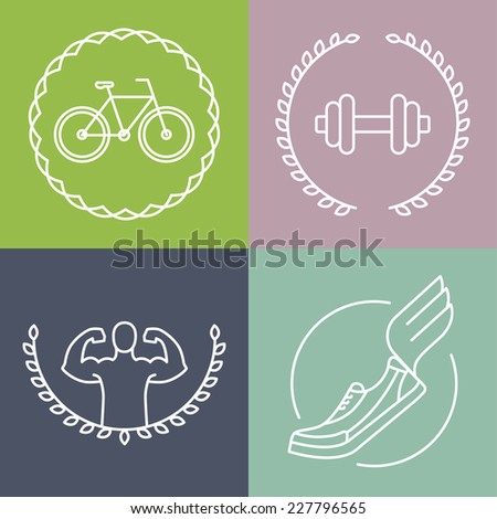 Vector sport logos in outline style - set of badges and design elements for fitness clubs  - stock vector