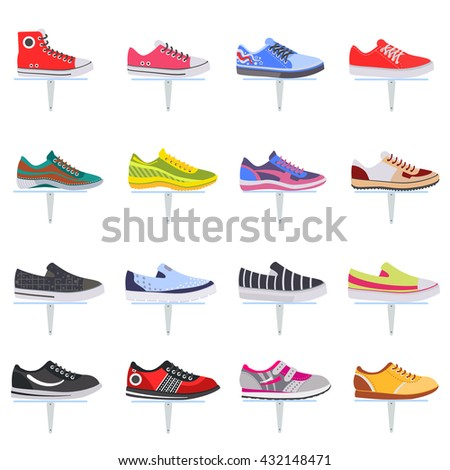 Vector sport shoes sneakers flat icon collection set.  - stock vector