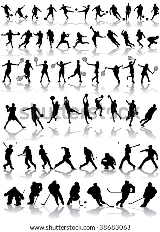vector sport silhouettes - stock vector