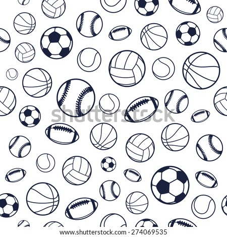 Vector Sports Balls Black and White Seamless Background, Sports Equipment, Pattern - stock vector