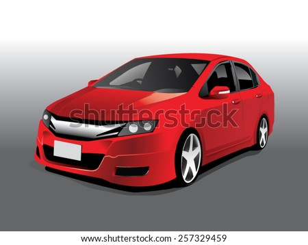 Vector sports red car front view - stock vector