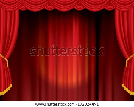 vector spot on red stage - stock vector