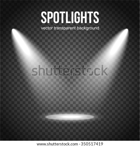 Vector Spotlight Background. Spotlight isolated. Stage lights vector. Spotlight background vector. Spot vector. Light Effects. Scene illumination, transparent effects on a plaid dark background. - stock vector