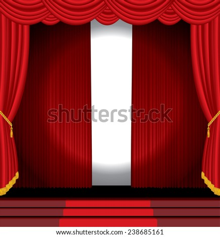 vector spotlight on opened red stage - stock vector