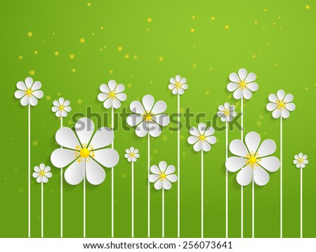 Vector spring background with volumetric flowers. Paper cut flowers on green background.  - stock vector