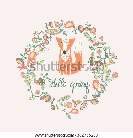 Vector spring card. Funny Fox in a wreath of flowers. - stock vector