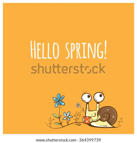 Vector spring card with cute cartoon snail and flowers. - stock vector