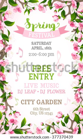 Vector spring festival template. Floral frame. Bright pink cherry blossoms on vertical white background. You can place your text in the center. - stock vector