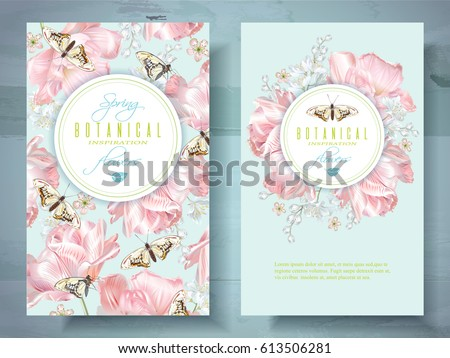 Vector spring flower banners pink tulips stock vector 613506281 vector spring flower banners with pink tulips and butterflies elegant tender design for natural cosmetics mightylinksfo