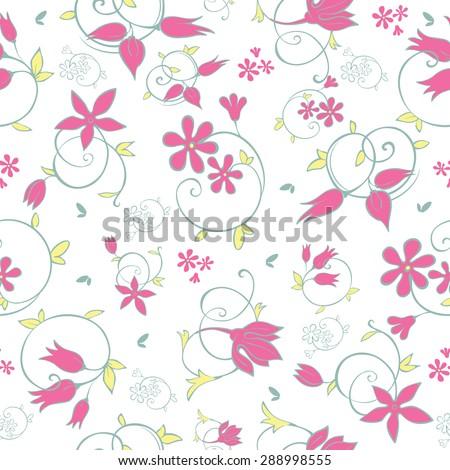 Vector Spring Flower Swirls Seamless Pattern - stock vector