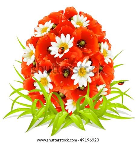 Vector spring flowers in the shape of Easter egg - stock vector