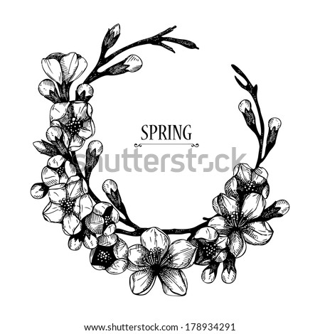 Vector spring frame for your card or invitation with hand drawn blooming fruit tree twig illustration. Isolated on white - stock vector