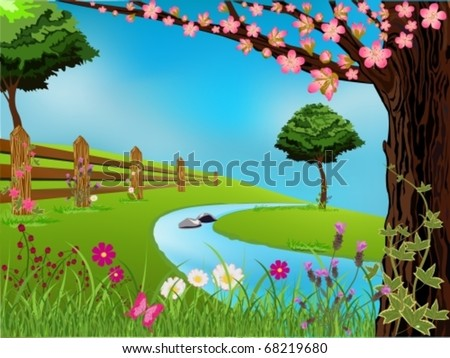 Vector spring scene with flowers, trees and beautiful sky - stock vector