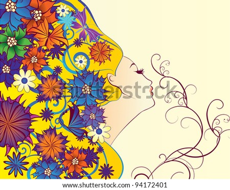 vector spring woman fantasy profile with flowers - stock vector