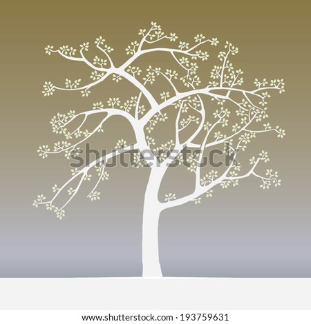 Vector springtime tree japan woodblock print style