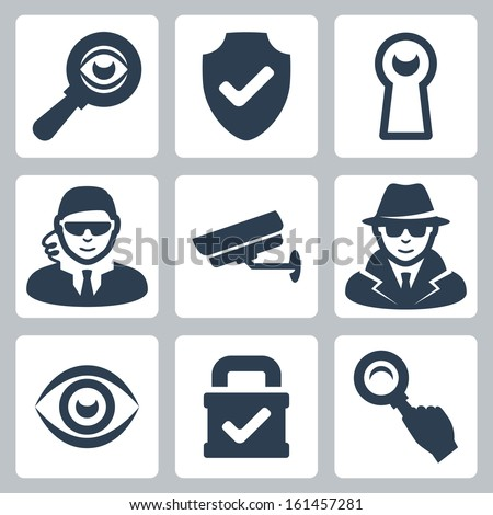 Vector spy and security icons set: magnifying glass, shield, heyhole, security man, surveillance camera, spy, eye, lock - stock vector