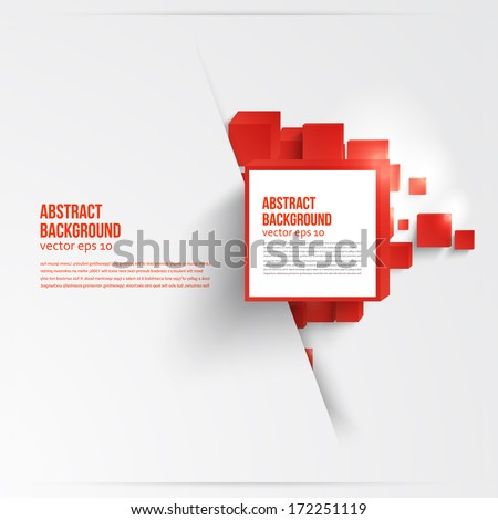 Vector  square. Abstract background card and red. 3d - stock vector