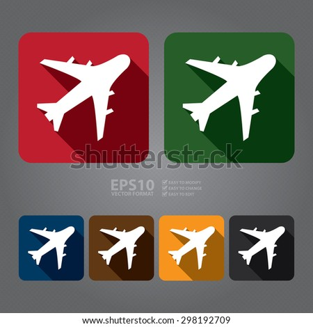 Vector : Square Aeroplane, Airplane, Airport, Landing Field, or Logistics Flat Long Shadow Style Icon, Label, Sticker, Sign or Banner - stock vector