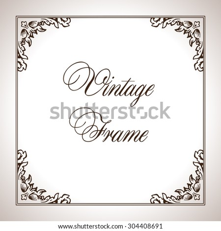Vector square calligraphic frame in antique style - stock vector