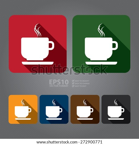 Vector : Square Coffee Cup or Coffee Shop Long Shadow Style Icon, Label, Sticker, Sign or Banner - stock vector