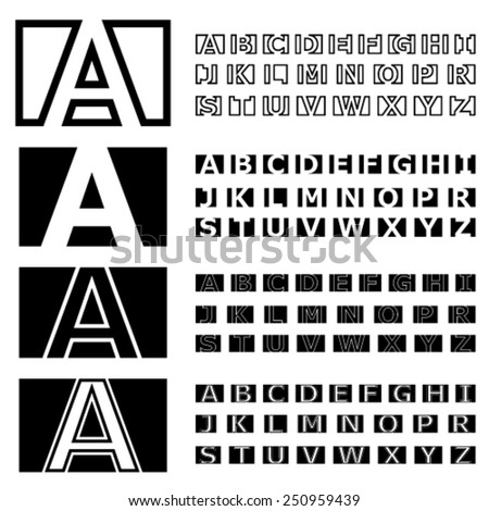 vector square contour font alphabets - stock vector