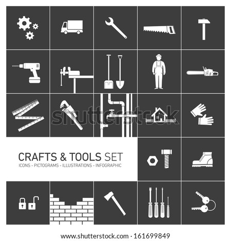 Vector square crafts and tools icon set - stock vector
